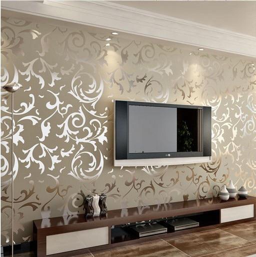 Gold silver cream flock velvet victorian damask wallpaper roll luxury leaf wall paper homes - Cream flock wallpaper ...