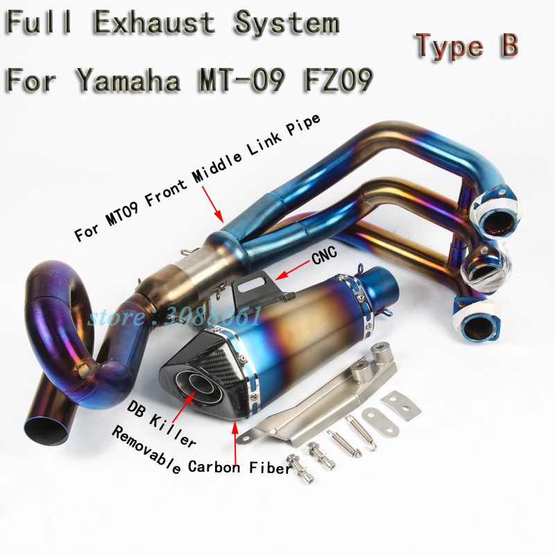 Slip On For Yamaha MT09 MT 09 FZ09 FZ 09 Motorcycle Full Exhaust System Modified Carbon