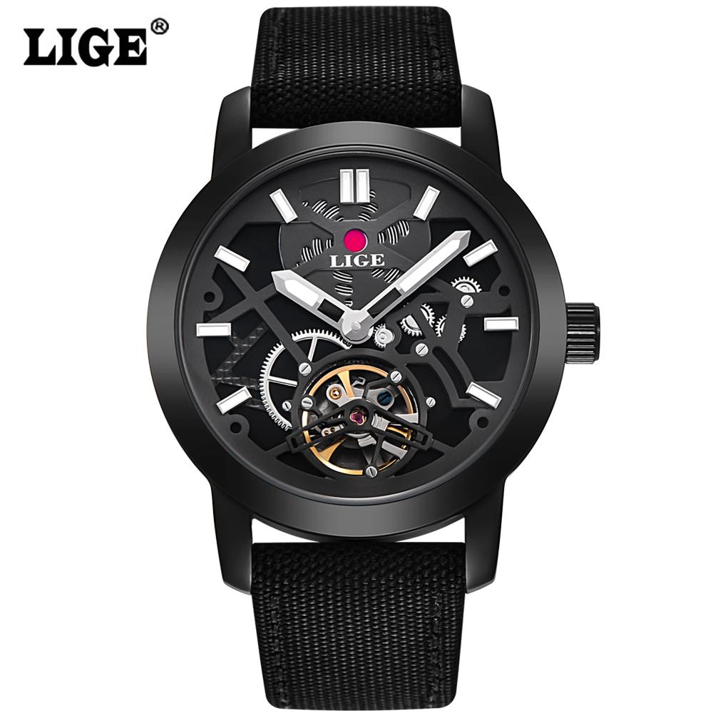Prix pour LIGE Marque Hommes de montres De Mode Casual Automatique Montre Hommes Étanche Militaire montres Homme bracelet en Toile Noir Horloge
