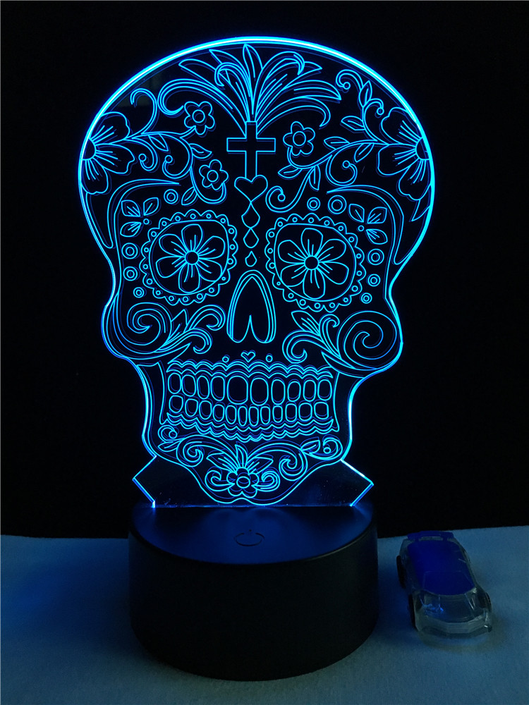 GAOPIN Creative Flower Skull Shaped 3D Lamplight LED USB Mood Night Light Multicolor Touch Or Remote Luminaria Change Table Lamp