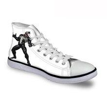 ELVISWORDS Mens Vulcanize Shoes Venom Pattern High Top Shoes Casual Male Canvas Shoes Lace Up Men High-top Sneakers Cartoon Flat
