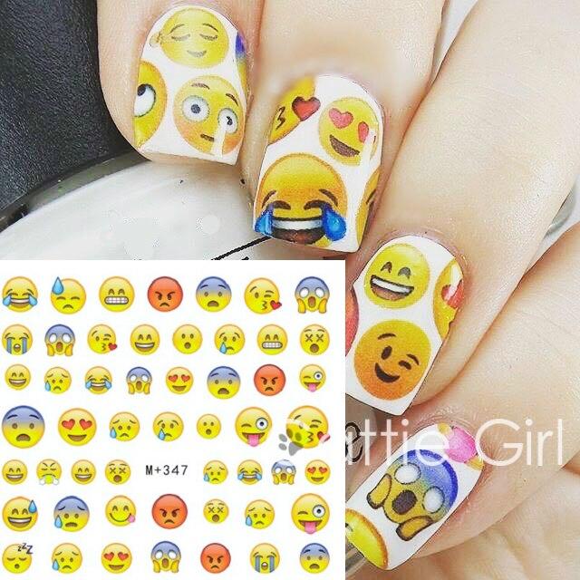 1 Sheet Face Emoji Water Decals Various Expression Nail Art Water ...