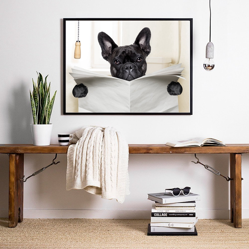 Dog Reading Newspaper Wall Art Prints