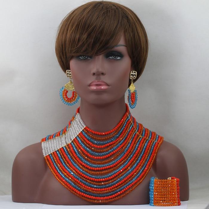African Wedding Beads Jewelry Set 20 offers Colorful Crystal Beads Bridal Jewelry Set Bridal Necklace Earring Bracelet Set ALJ920