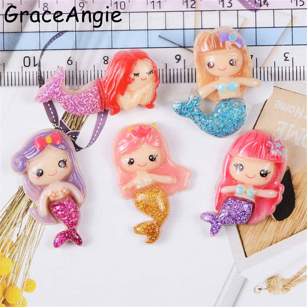 GraceAngie 12pcs/lot Multi Color Resin Mermaid Cartoon Charms Hair Accessories Ornament Phone Decor DIY Jewelry Making Findings