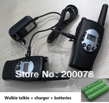 Crank dynamo emergency Pair walkie talkies wind-up two way cb ham radio w/ led flashlight w/ charger batteries