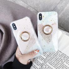 Kickstand Funda Glitter Love Heart Marble Phone Case for iphone X XS Max Xr 6 6S 7 8 Plus 10 Cover Soft TPU Bling Sequins Capa