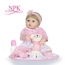 "NPk 22"" doll reborn toys for boys girls gift full silicone body vinyl reborn babies bebe real alive reborn bonecas brinquedo(China)"