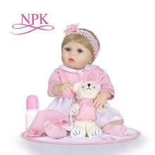 Npk boneca reborn para meninos e meninas, brinquedo de silicone com corpo inteiro de vinil para crianças bonecas brinquedo