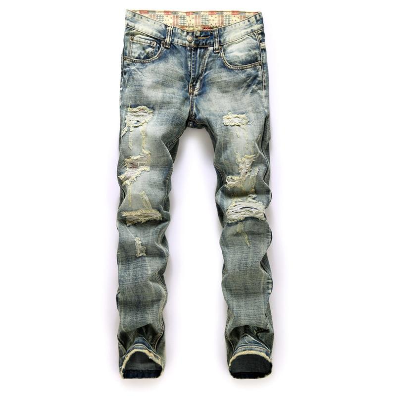 2017 Hot Sale Solid Slim Retro Men Designer Jeans Straight Pants Denim Trousers Biker Jeans ...