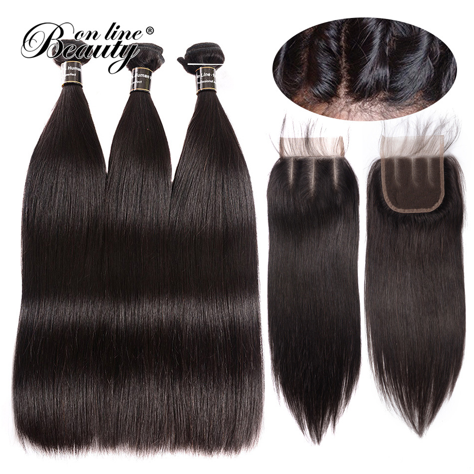 Straight Hair 3 Bundles Brazilian Hair Weave Bundles With Closure Human Hair Bundles With Closure BOL Closure Remy 4 PCS BOL