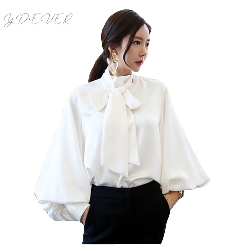 Cute White Big Bow Tie Office Work OL Chiffon Blouse Green Solid Loose Lantern Sleeve Shirts Tops Fashion Runway X315T3T1