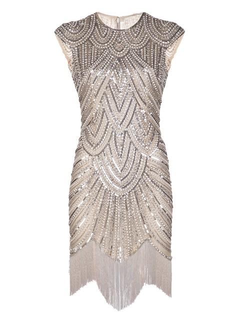 Винтаж Вдохновленный 1920 s Gastby Ручной Алмазный Блестками Украшенные Бахромой Хлопушки Платье