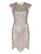 Vintage Inspired 1920s Gastby Handmade Diamond Sequined Embellished Fringed Flapper Party Dress