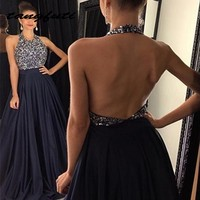 Navy Blue Long Prom Dresses Women Free Shipping Sequin Crystal Long Graduation Dresses Evening Party Prom Gown vestido de format