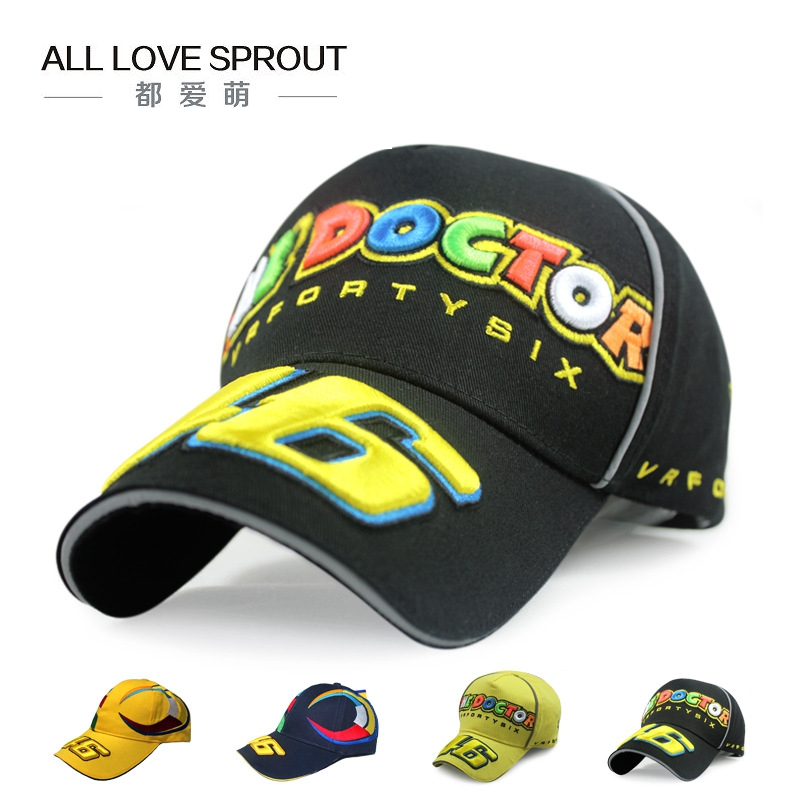 2017 Unisex  Car Motocycle Racing  GP Rossi VR 46 The Doctor Embroidery Baseball Cap  Sun Hat Free Shipping new car brand formula one fashion laid back match car team sport baseball cap cool unisex sun outdoor hat for autumn and winter