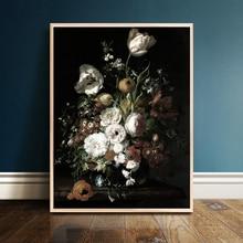 Pintura de flores Vintage sobre lienzo, arte clásico, rosa, peonía, cuadrado, decoración, póster e impresión, elegante cuadro de pared para sala de estar