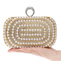 Beaded Women Evening Bags Diamonds Finger Rings Small Purse Day Clutches Handbags Silver/Gold/Black Pearl Wedding Bags