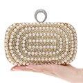 Mulheres frisado Sacos de Noite de Diamantes Anéis de Dedo Pequena Bolsa Dia Embreagens Bolsas de Prata/Ouro/Preto Sacos Do Casamento Pérola