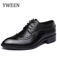 YWEEN Elegant Pointed Toe Man Oxfords Leather Formal Dress Shoes Busuness Wedding Party Office Men S