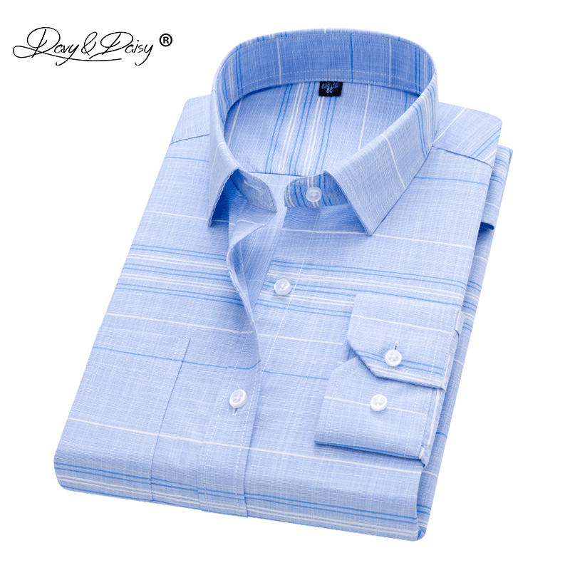 DAVYDAISY 2019 New Arrival Men Shirt Long Sleeved Male Plaid Printl Business Dress Shirts Brand Clothing Work Shirt Man DS262
