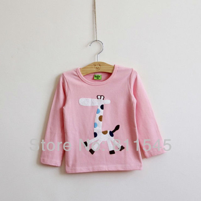 Autumn Fall 2016 Cute Giraffe Baby Girls Tee Cotton T-Shirt Long Sleeve Children T Shirts Toddler Shirt Kids Tshirt Top Clothing