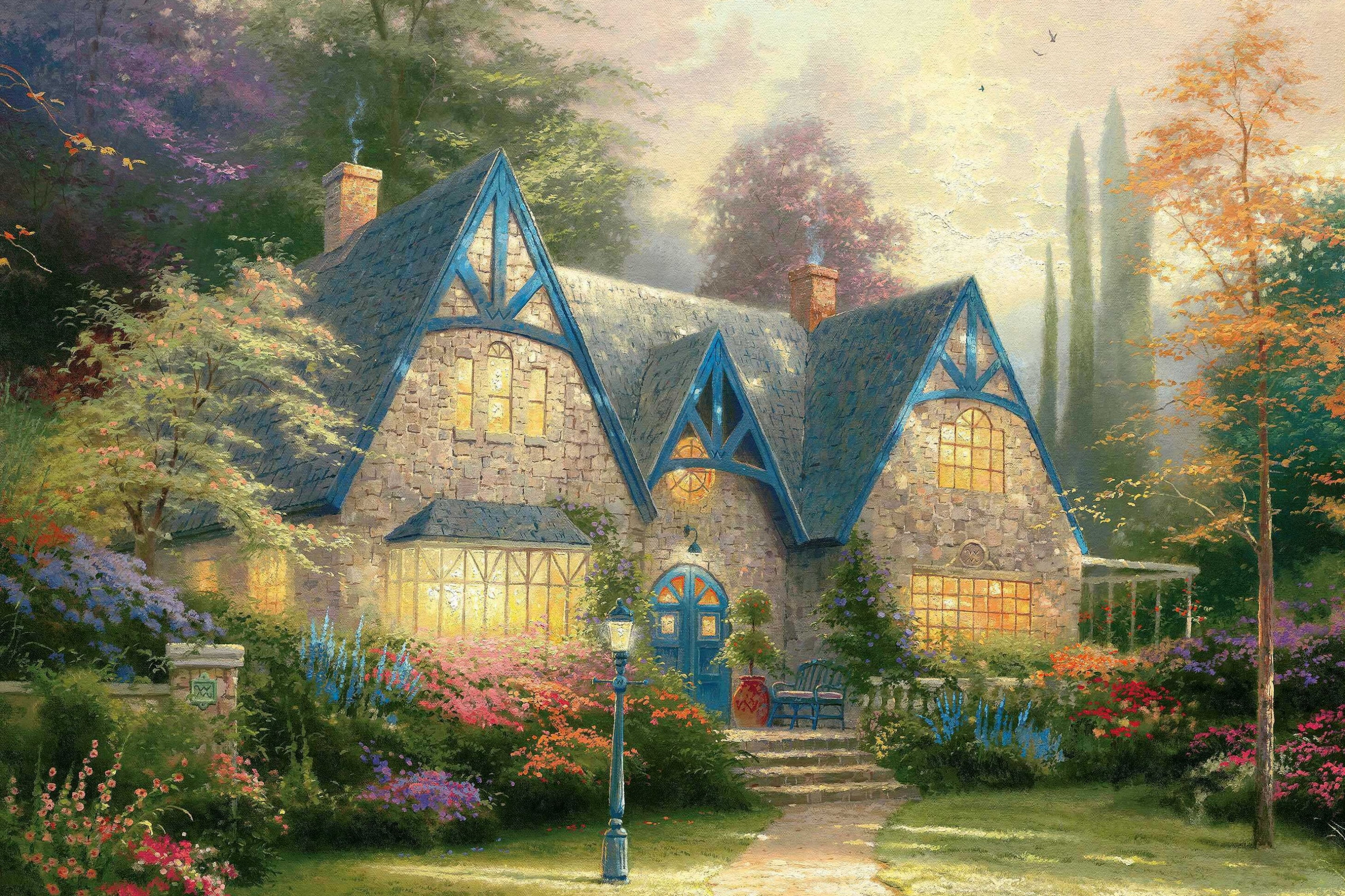 Winsor Manor Thomas Kinkade font b painting b font font b mansion b font home garden