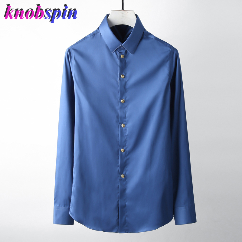 Or Rose bouton chemise hommes 2019 couleur unie Slim décontracté chemise homme à manches longues pur coton affaires hommes robe chemises camisas
