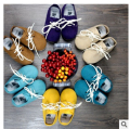 New Genuine Cow Leather solid Baby Moccasins Soft Moccs lace up Baby Shoes 2015 Newborn firstwalker Anti-slip Infant Shoes