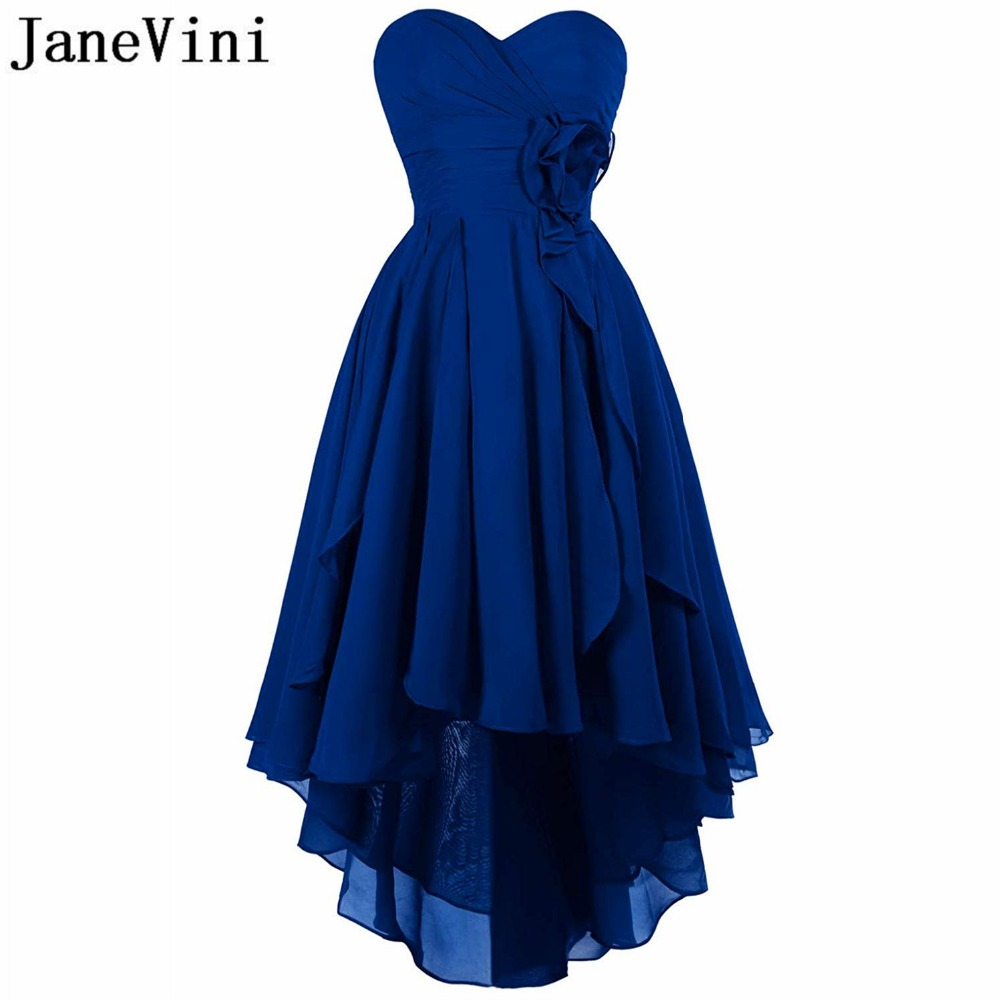 JaneVini Simple High Low Chiffon Royal Blue   Bridesmaid     Dresses   for Women Sweetheart Backless Ankle Length Wedding Guest   Dress