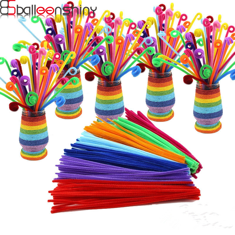 BalleenShiny 100pcs/set DIY Twisted Plush Stick Toys Kids Coloful Shilly-Stick Children's Educational Toys Random Color