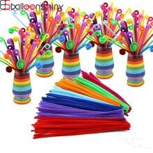 BalleenShiny 100pcs/set DIY Twisted Plush Stick Toys Kids Coloful Shilly-Stick Childrens Educational Random Color