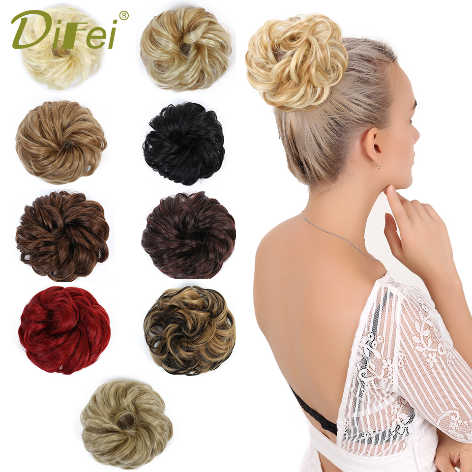 DIFEI Chignon Ring-Wrap Ponytails Hair-Bun Rubber-Band Scrunchie Blonde Synthetic-Hair