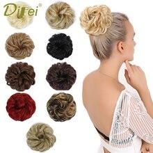 DIFEI, вьющиеся резинки для волос, шиньон, с резинкой, коричневый, блонд, синтетические волосы, кольцо, обруч для волос, пучок, хвосты
