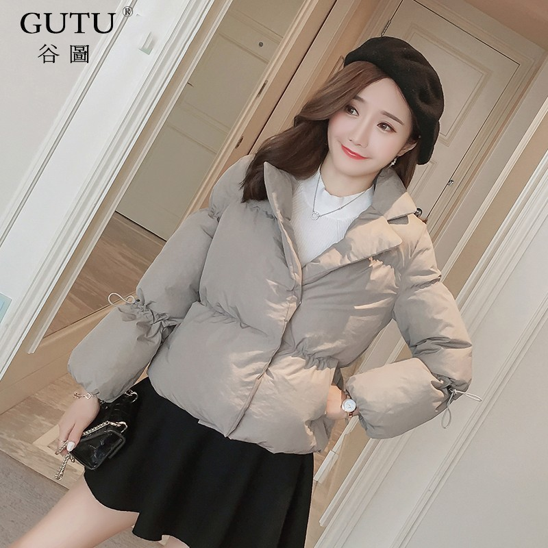 [GUTU] 2017 Autumn And Winter New Korean Solid Color Long Puff Sleeves Stand Collar Zipper Thicker Coat Woman E102201 new arrival autumn and winter 2017 outdoor softshell long sleeves solid color zipper pocket sports windbreaker men 150
