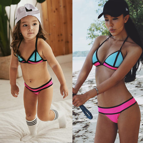 5c74ee90db8 Print Sexy Swimming Suit Family Match Mother Daughter Bikini Swimsuit  Swimwear Women Girls Kids Beachwear