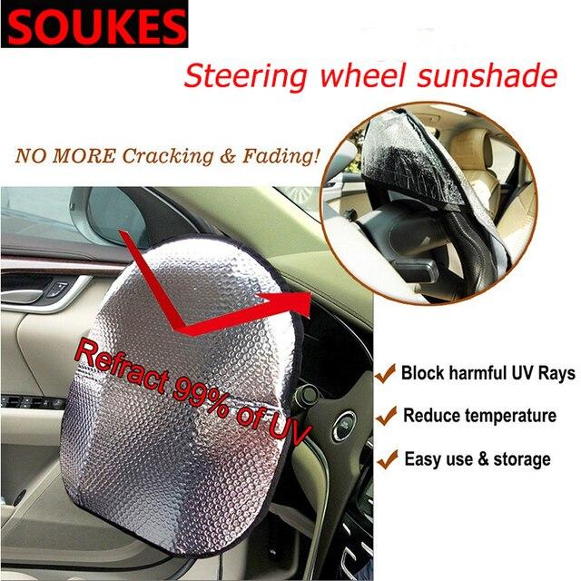 35-45cm Car Steering Wheel Sunshade Sunscreen Cover For Renault Megane Logan Mitsubishi Lancer VW Tiguan Golf 4 7 6 T5 T4 Jetta
