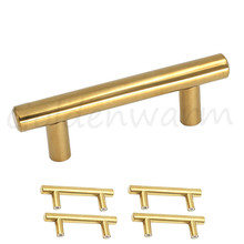 polished brass gold cabinet pulls hole centers 64 mm 212 inch stainless steel t bar furniture door drawer handles 5 pcs