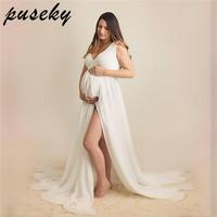 Puseky Maxi Chiffon Maternity Gown V neck Maternity Photogrpahy Dresses Sleeveless Maternity Photo Shoot Long Chiffon Dress