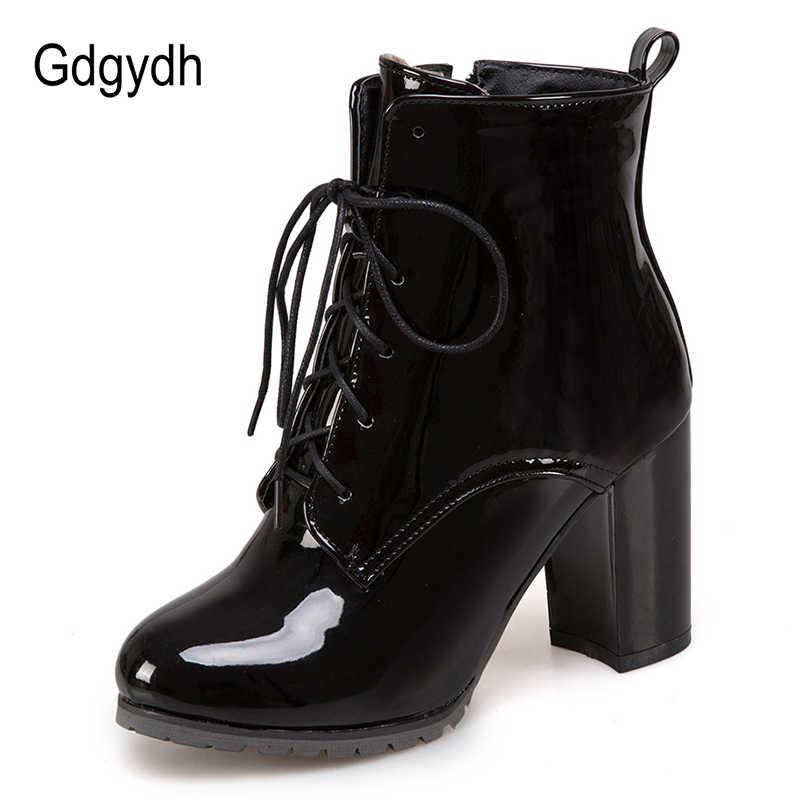 Gdgydh Büyük Boy 48 Patent Deri Çizmeler Kadınlar Için Dantel up Yüksek Topuklu Ayakkabılar Bahar Sonbahar Siyah Ayakkabı Kadın yarım çizmeler zip