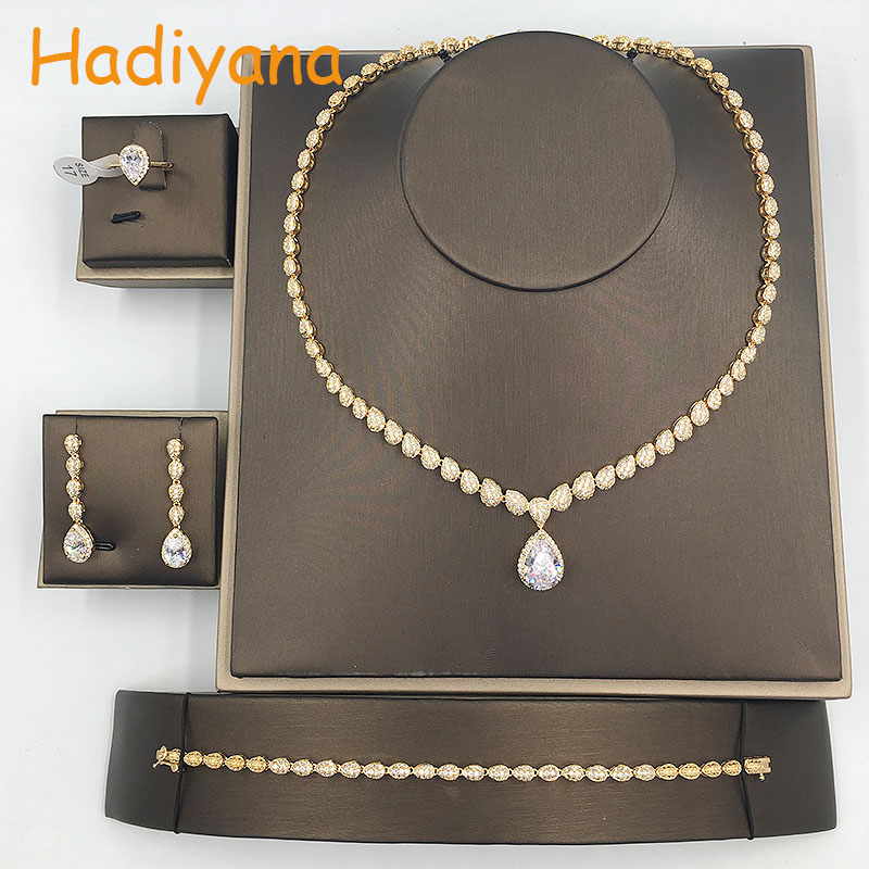 HADIYANA Elegant Classic Waterdrop Pendant Jewelry 4pcs Set For Bridal Shining AAA Zircionia Wedding Jewelry Sets