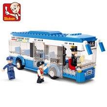 Sluban 0330 City Bus Building Blocks Compatible With Legoe DIY Enlighten Model Bricks Building Kit Education Toys Kids Gifts