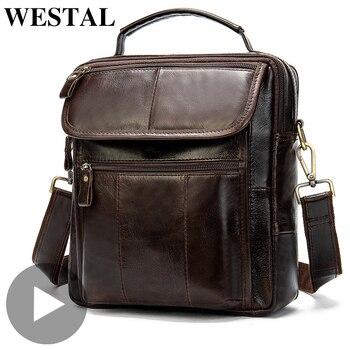 Vintage Luxury Briefcase Cross Body Crossbody For Genuine Leather Men Shoulder Bag Messenger Handbag Male Bolsas Sac A Main Hot