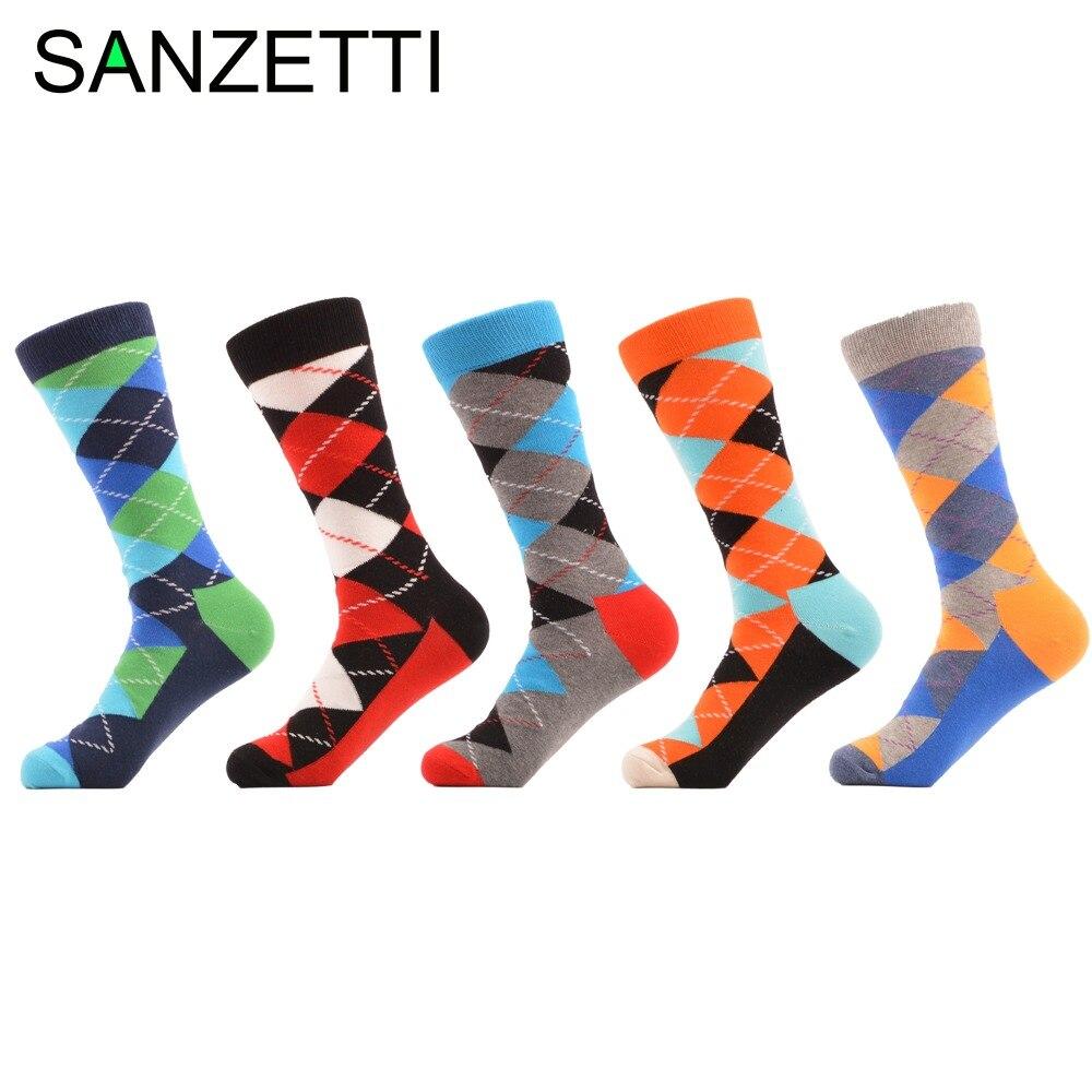 SANZETTI 5 pair/lot Mens Colorful Funny Argyle Combed Cotton Socks Bright Men Long Crew Dress Socks US Size 7.5-12