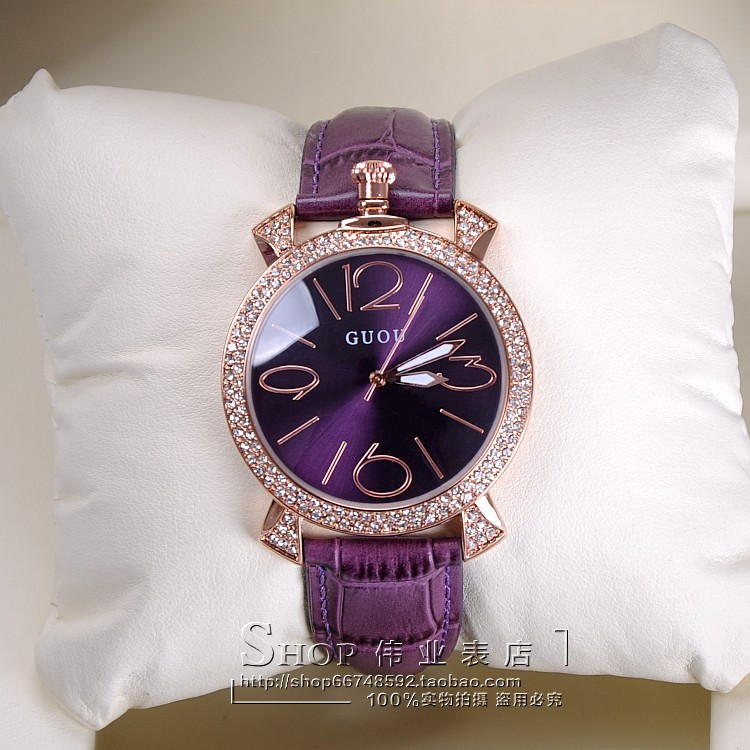 GUOU purple rose gold women luxury brand full rhinestone watch ladies genuine leather band quartz watch women famous wristwatch women vintage watch ladies lace printed analog leather quartz watch women 2016 brand luxury famous wristwatch reloj hombre