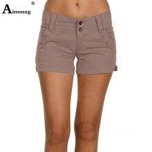 Plus Size S-5XL Casual elasticity Khaki Button Pocket Straight Leg Shorts Women Summer Mid Waist Solid 2019 Streetwear Shorts