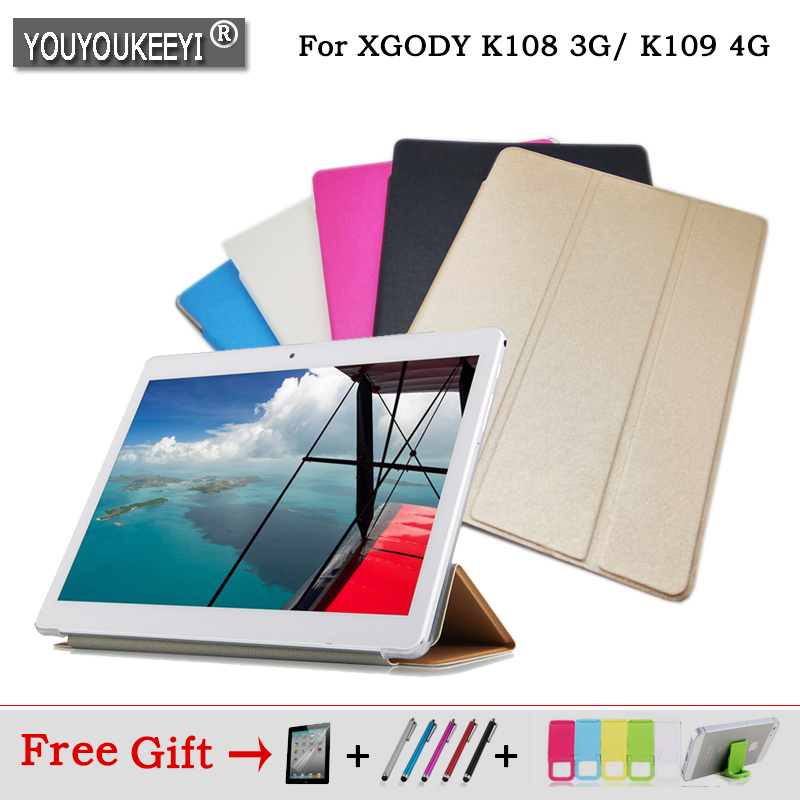 Fashion 3 fold Folio PU stand cover case For XGODY K108 3G/ K109 4G call phone 10.1inch tablet pc ,5 color for choose+3 gift fashion 3 fold folio pu leather stand