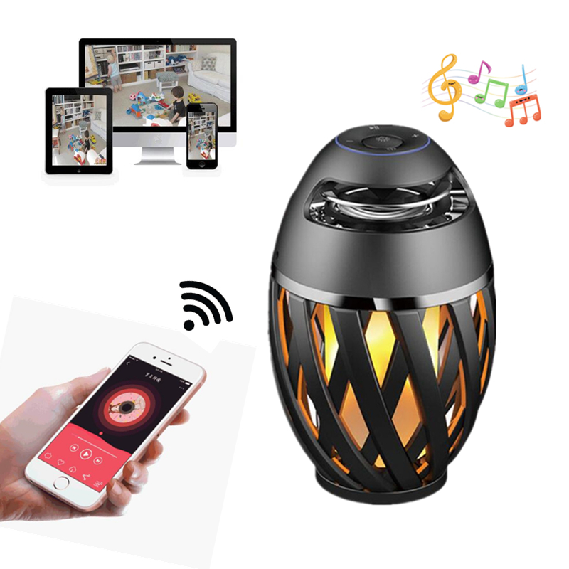 Sansnail USB Led Flame Lights Bluetooth Speaker Outdoor Portable Atmosphere Lamp Stereo Camping Woofer