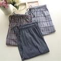 Pantalones de pijama de Los Hombres de Algodón A Cuadros Pantalones A Cuadros Sueltos Pantalones de Pijamas de Dormir