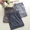 Pyjamas Trousers Men Cotton Plaid  Sleep Pants Loose Plaid Sleep Bottoms